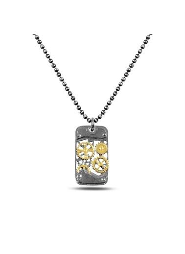 Enesstore Saat Mekanizması Diktörtgen Erkek Gümüş Kolye Top Zincirli Gümüş Kolye Altın Siyah